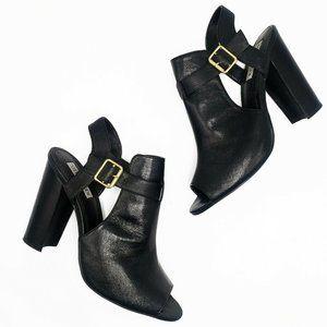Steve Madden Krete Peep Toe Heels Black Leather